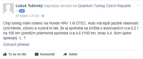 Facebook recenze Quantum chiptuning - Ľuboš Tužinský